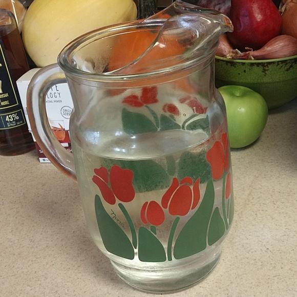 "Nina Other - Vintage ""Nina"" large heavy red tulip pitcher"